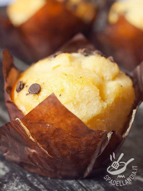 Muffins with yogurt and chocolate chips - I Muffins allo yogurt e gocce di cioccolato sono dei dolcetti di tradizione americana davvero deliziosi e in questa versione ancora più buoni! #muffinalloyogurt #muffinalcioccolato