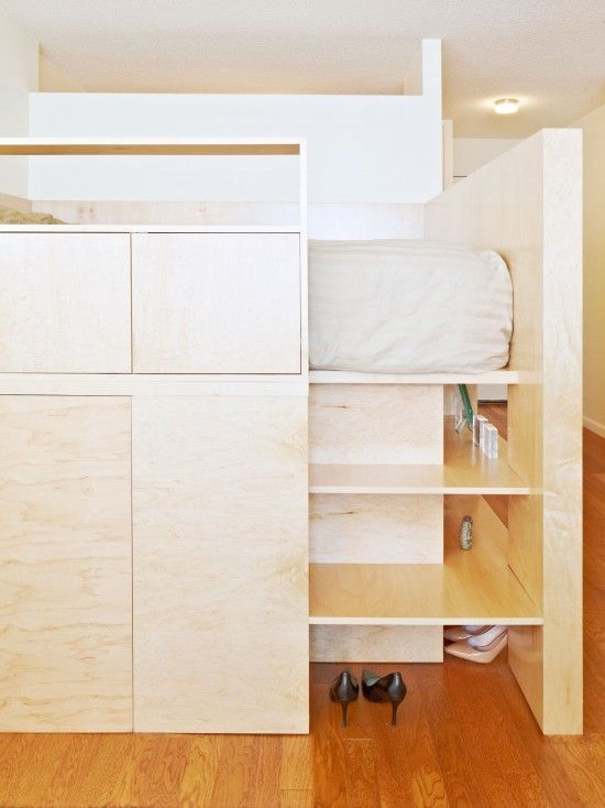 Adult friendly loft bed with huge possibilities for whatever underneath