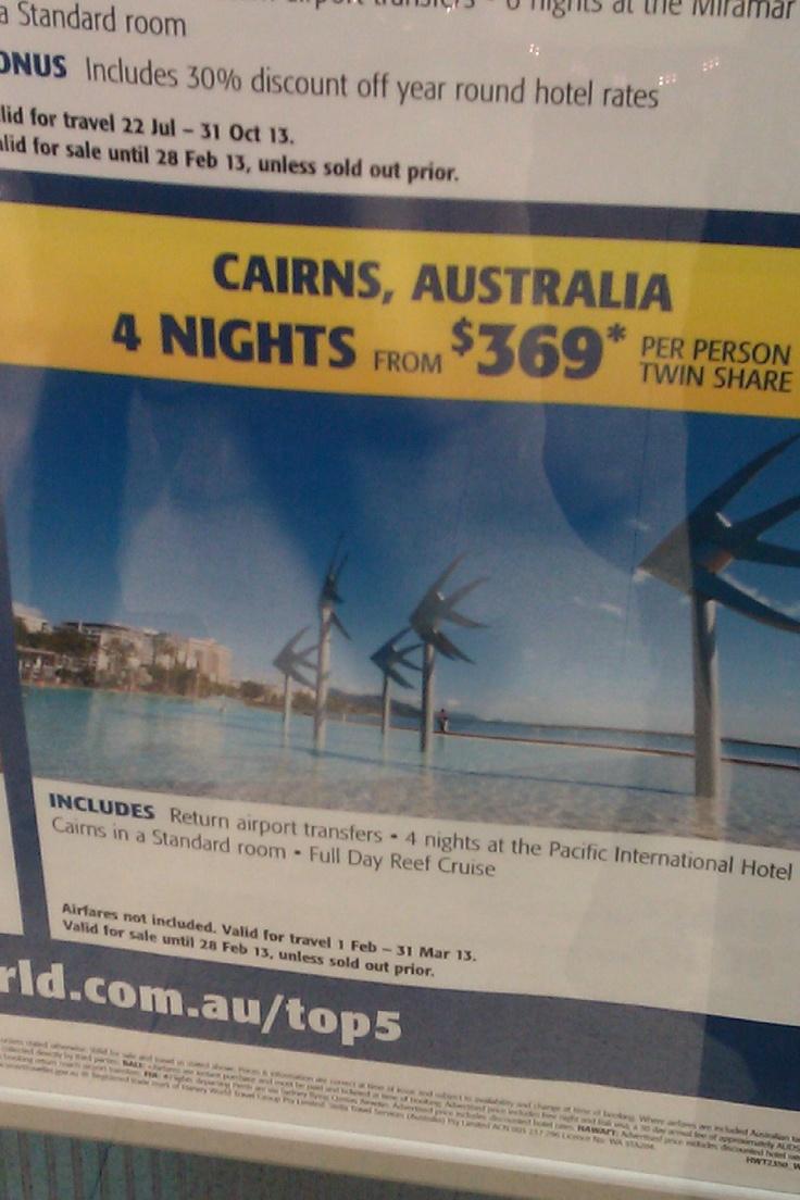 Tara, Cairns Trip, Harvey World Travel, $369.00