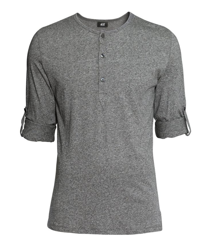 Gray henley shirt with buttons, long sleeves, and roll-up tab. | H&M For Men