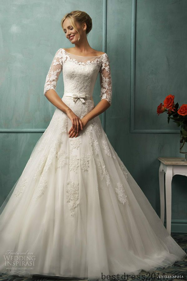 2014 Newest Sleeve White Ivory Bride Wedding Dress Love The Lace Bow Length