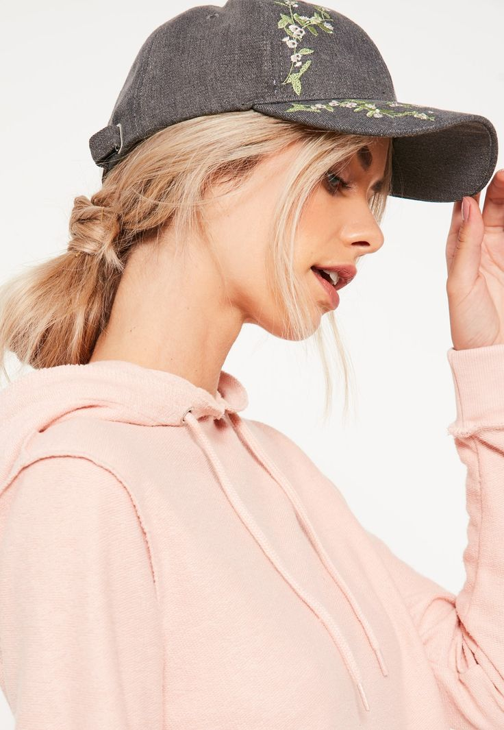 Missguided - Grey Floral Blossom Embroidered Cap