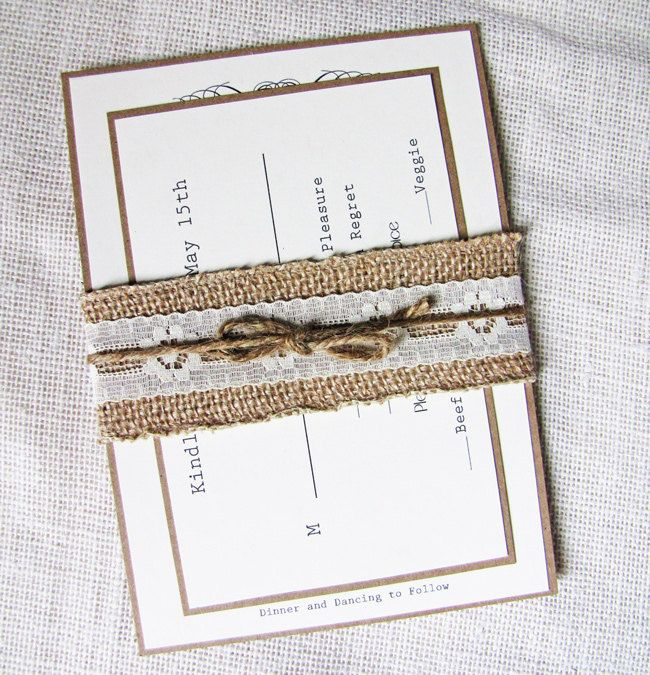 Burlap and Lace Rustic Vintage Wedding Invitation Sample Listing. $5.50, via Etsy.