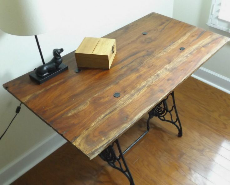 Reclaimed Wood Desk - Sewing Machine Table - Refinished Table - Up-Cycled Sewing Machine Table - Office Furniture - Vintage Singer Table by SuSueStudioHome on Etsy
