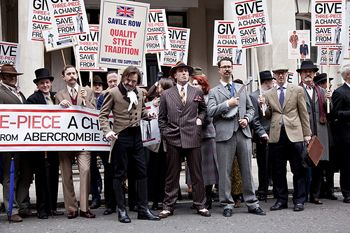 "Article on ""The Siege of Savile Row"": Dresses Demonstrations, Abercrombie Fitch, Protest Abercrombie, Dapper Briton, Briton Politics, Savile Row, Row Protest, Politics Protest, Dresses Mob"