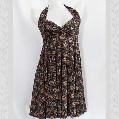 Peacock-print Sweetheart Halter Dress