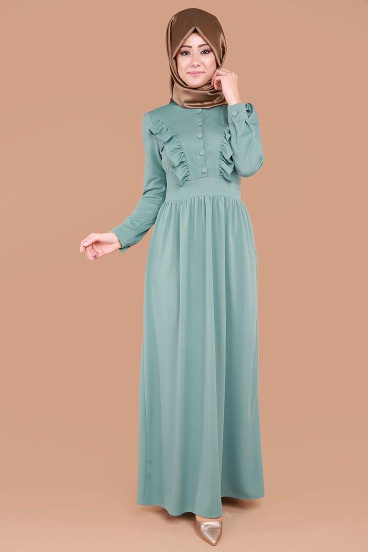 Fırfırlı Tesettür Elbise Mint Ürün kodu: MSW9235 --> 69.90 TL
