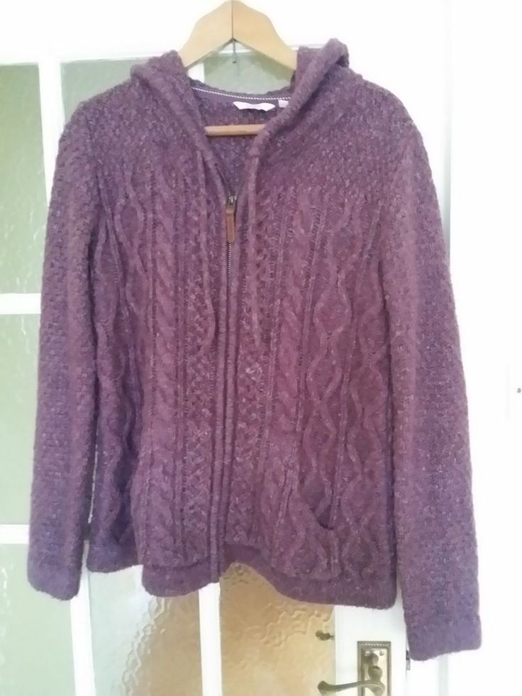 Fatface ladies hooded zip cardigan purple 12 chunky knit aran cable fat face