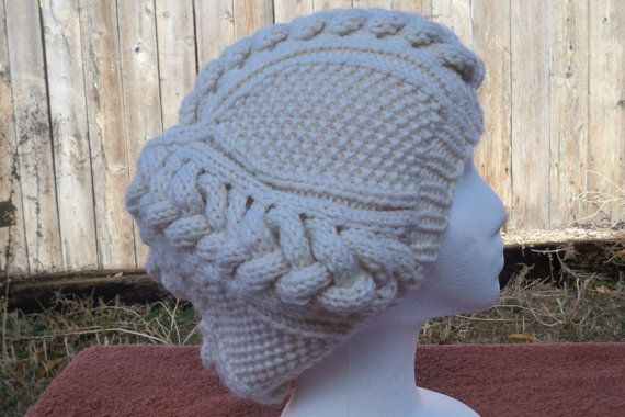 Buttermilk Slouch Beanie With Giant Embossed by BettyMarieJones, $30.00