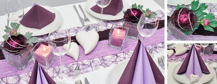 Tischdeko zur hochzeit in aubergine und flieder - Tischdeko aubergine ...