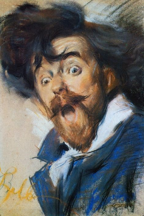 Self portrait painted in 1900 by the Futurist Italian artist, poet, & teacher: Giacomo Balla, who was influenced by movement, light, & speed in his artistic creations.