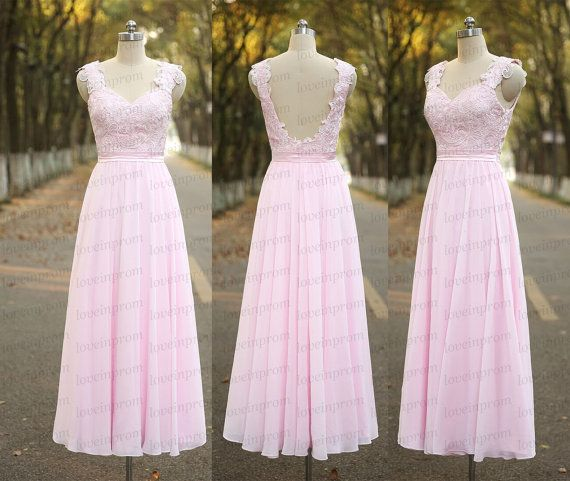 Pink Long Prom Dress Handmade Lace Chiffon Pink Cap by loveinprom