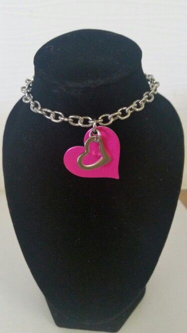 Pink double hearted necklace. AUS $ 8.00