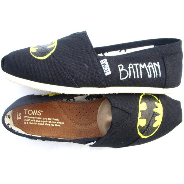 The Batman - Black and Yellow Custom TOMS ($115) ❤ liked on Polyvore