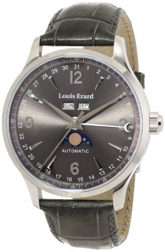 Louis Erard Men's 31218AA03.BDC36 1931 Analog Display Automatic Self Wind Grey Watch ETA 2824 with complication Dubois depraz 9000 mechanical automatic movement. Day, date, month and moon phase. Exhibition case back. Grey genuine leather strap with crocodile pattern. Water-resistant to 50 M (165 feet).  #LouisErard #Watch