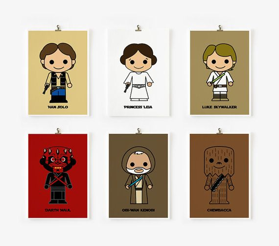 Cute Star wars art print 5 x 7 set of 6 Set B by loopzart on Etsy, $42.00
