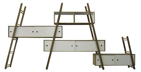 Modular Multi-Ladder Step Shelf System: In much the same way a keystone slots into position to hold all of arch-cut rocks around it in place, the storage-oriented elements are critical to supporting each ladder on which they sit – the completed prototype structure from Kempott 'locks' into place only when fully assembled.