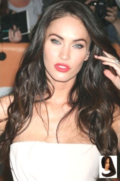 #Brown #Hairstyle #Runny # Length #Megan Fox Black Hair Long Brown Wavy Hairstyle