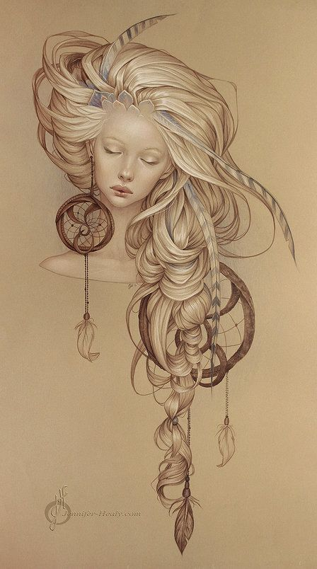 Girl with dream catcher hair
