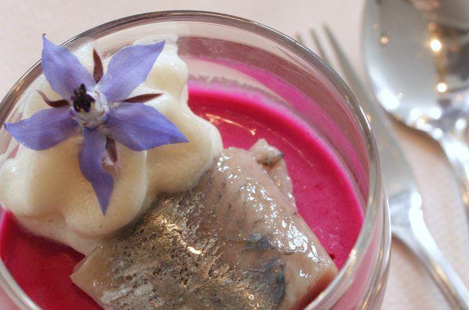 Een prachtig voorgerecht van Restaurant De Jouster Toer wat je zelf thuis ook makkelijk kunt maken: panna cotta van rode biet met haring en uienroom.