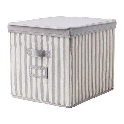 IKEA SVIRA BOX WITH LID, GREY, WHITE STRIPE (FREE UK P&P)  £13.99 vs IKEA £17.50