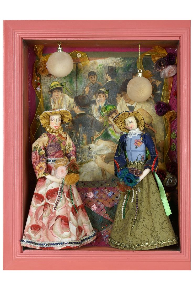 Half cloth dolls in picture frame. Made by Edith Jochinke and sold from Thanks I Made It Myself