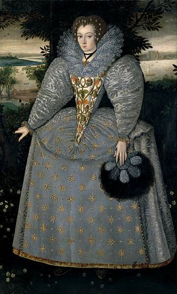 An example of a stomacher, might be from Tudor era though.  1588 - 1590 (c), attrib to Robert Peake the elder (c 1551-1619), previously attrib to Gheeraerts Portrait of Elizabeth Buxton, nee Kemp oil on canvas, about 1588 to 1590