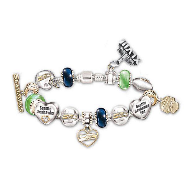 Want it!!! Bracelet: #1 Fan Seattle Seahawks Super Bowl Charm Bracelet With Genuine Swarovski Crystals