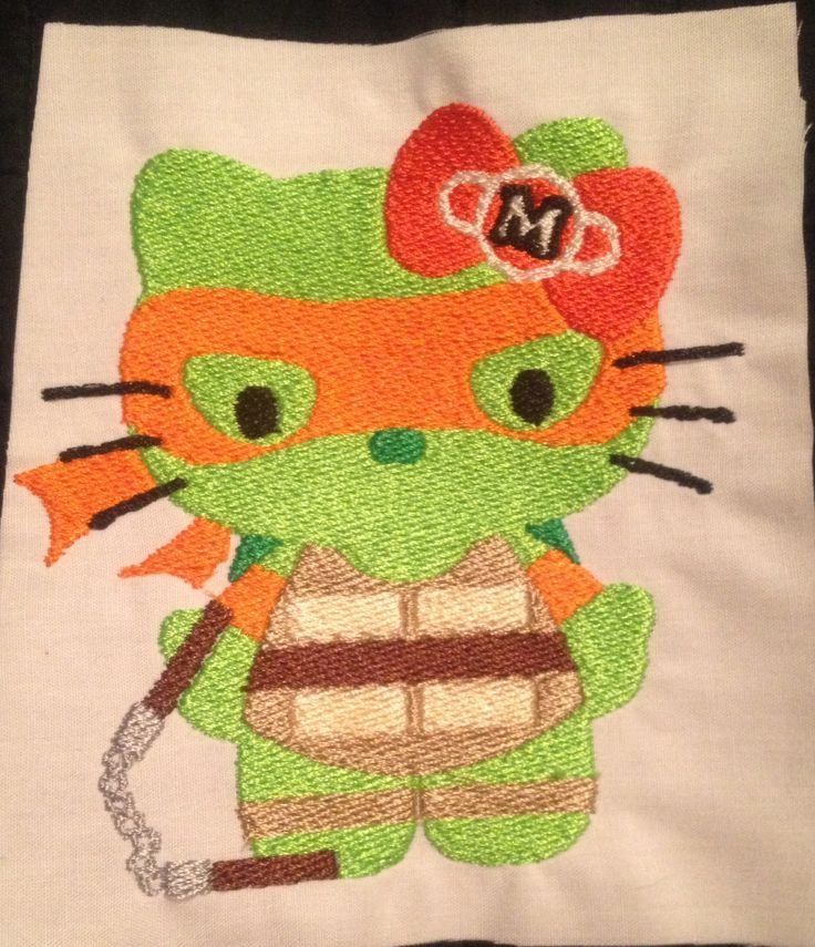 Hello Kitty Michelangelo Turtle: Miss Mary's Embroidery