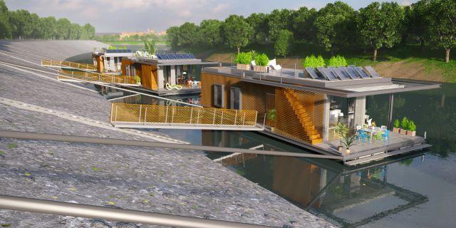 casas flotantes en el río Danubio con terraza