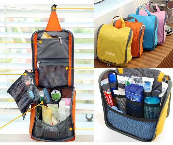 4pcs/lot New Traveling Toiletry kits with hanger vanity case for women cosmetic pouch Free Shipping-in Cosmetic Bags & Cases from Luggage & ...