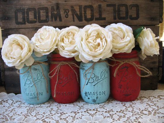 Mason Jars, Painted Mason Jars, Rustic Wedding Centerpieces, Party Decorations, Red and Blue Wedding on Etsy, $32.00