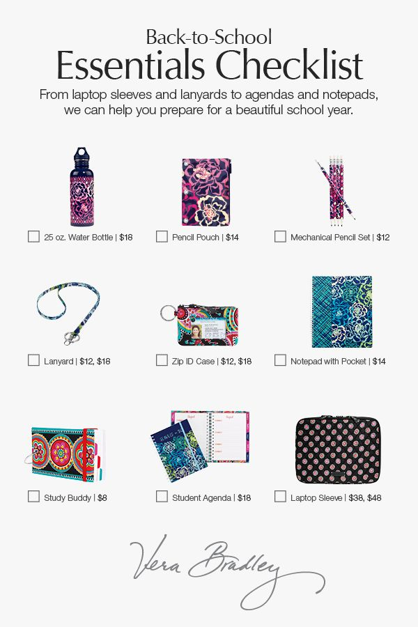 Your one-stop school shop. Vera Bradley has everything you need to have a stylish, successful school year. Mix and match a backpack or messenger, lunch bag, lanyard, agenda, notebooks, file folders, pens, pencils, highlighters and more!