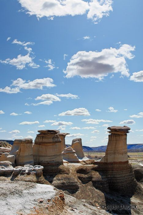 Unusual rock formations called hoodoos stand east of Drumheller, Alberta, Canada