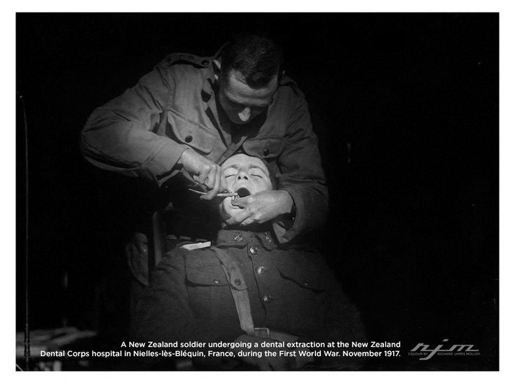 A New Zealand soldier undergoing a dental extraction at the New Zealand Dental Corps hospital in Nielles-lès-Bléquin France during the First World War. November 1917.