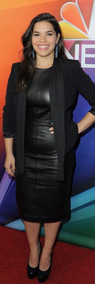 America Ferrera: Dress – Vince  Jacket – Sandro  Shoes- Saint Laurent  Earrings – Cos