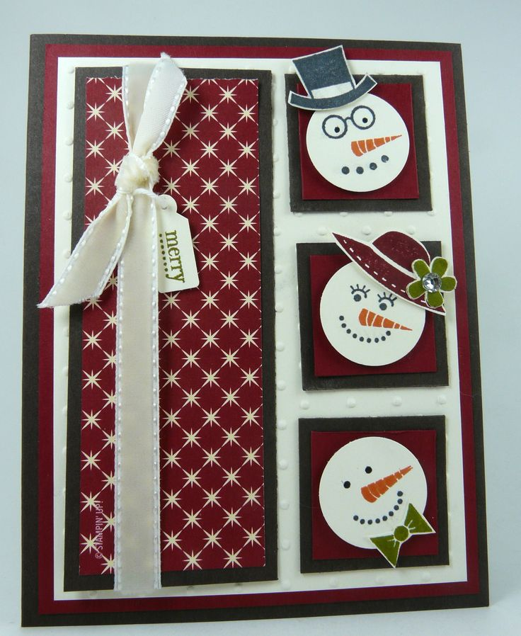 Gorgeous Christmas card by Michelle Surette, I Stamped That: Christmas Cards, Snowman Faces, Cards Ideas, Cards Class, Winter Cards, Mojo Mondays, Christmas Snowman, Xmas Cards, Snowman Cards
