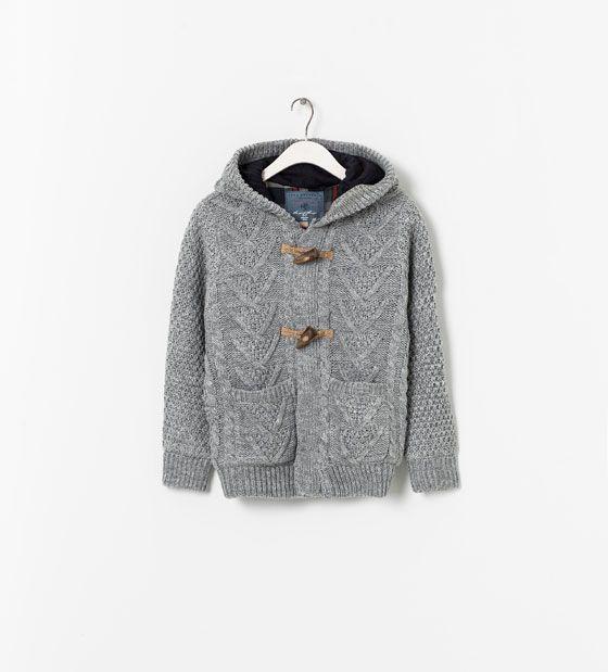 zara grey winter cardigan with hood