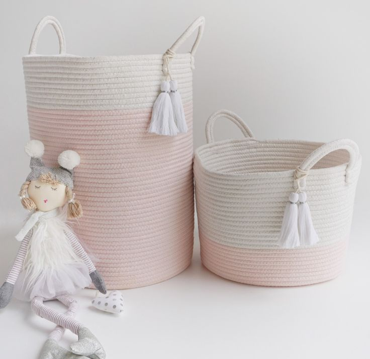 Pom pom cotton rope storage basket.