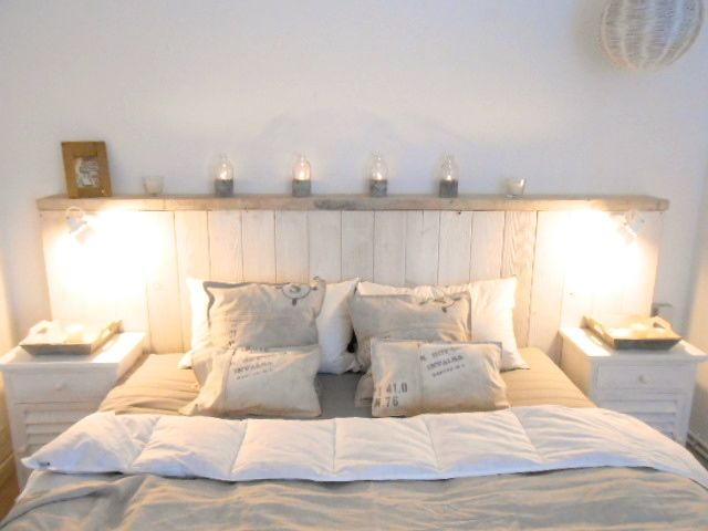 driftwood - bedroom - headboard - seawashed - white - long island - hamptons - vintage - shabby chic - design: www.carde.de