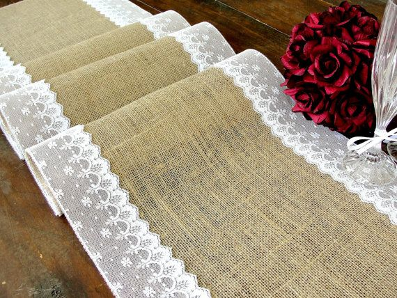 Burlap table runner wedding table runner with white Italian lace rustic chic , handmade in the USA
