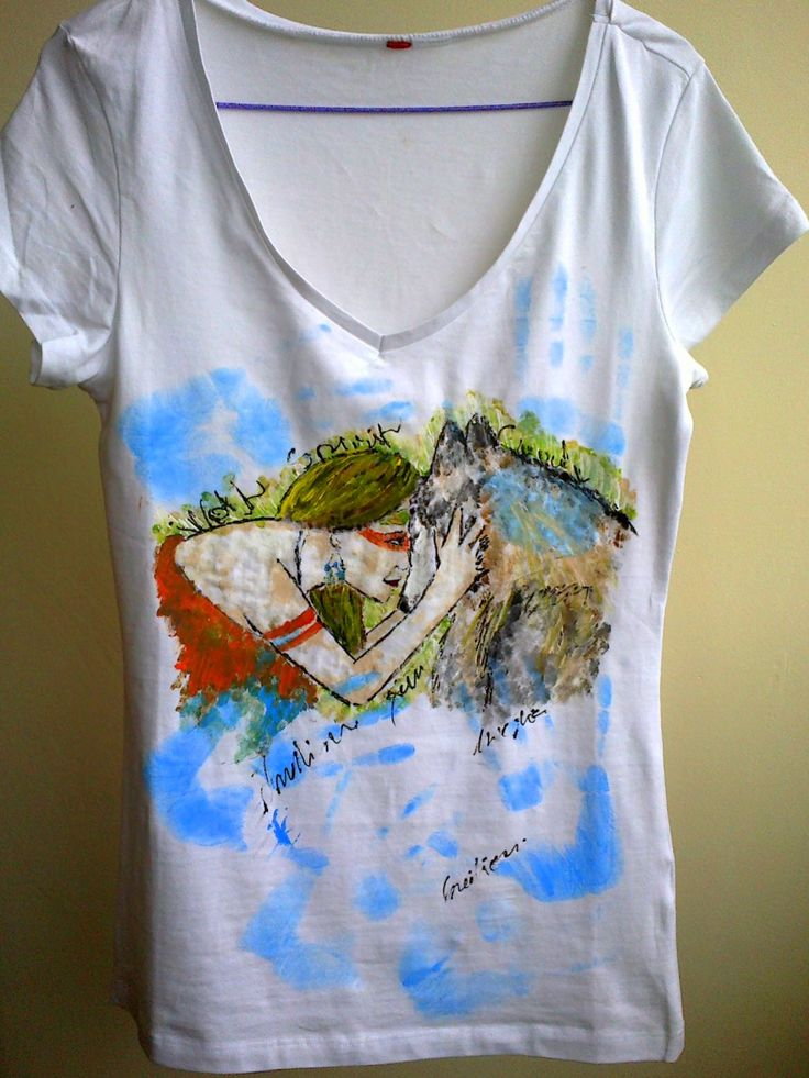"""""""The Girl and the Wolf"""" hand painted t-shirt"""
