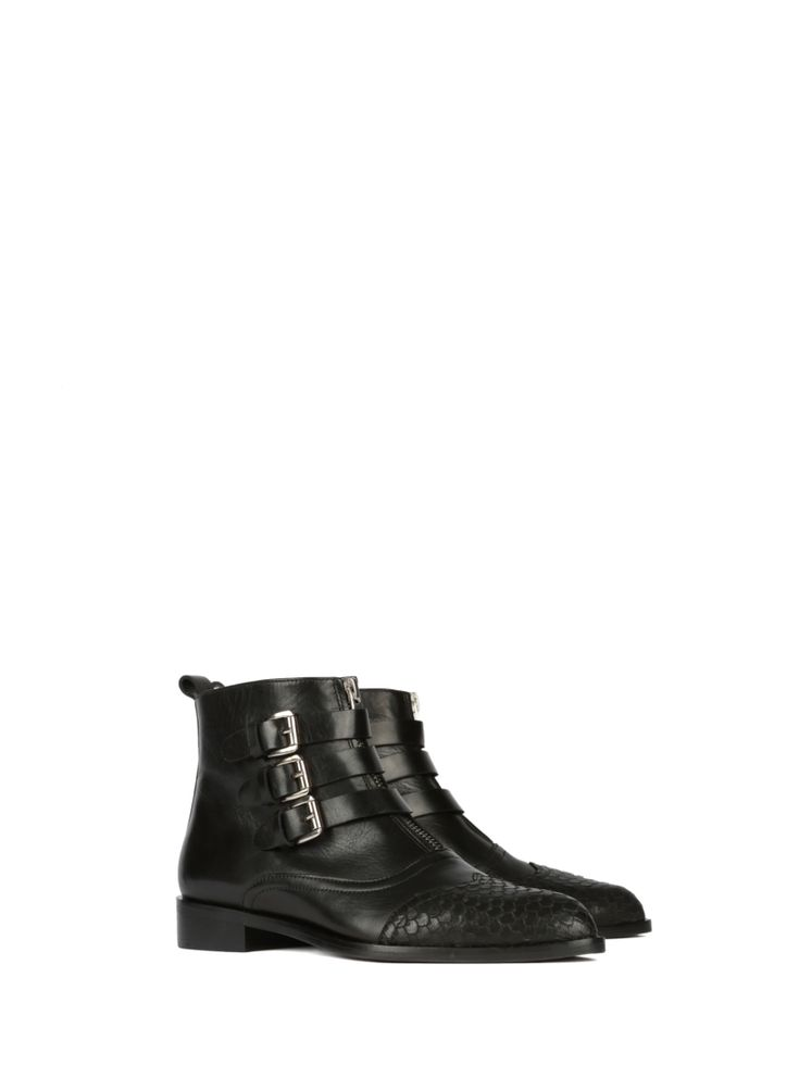 L'enfant Terrible rockstar collection black leather low boots strapped stardust chelsea buckled zipper