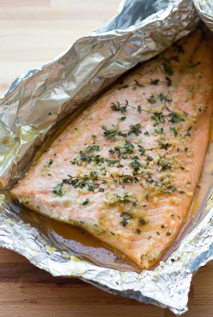 Baked Honey Salmon » Steam the filet inside a foil packet for easy clean up. Ready in 30 minutes!