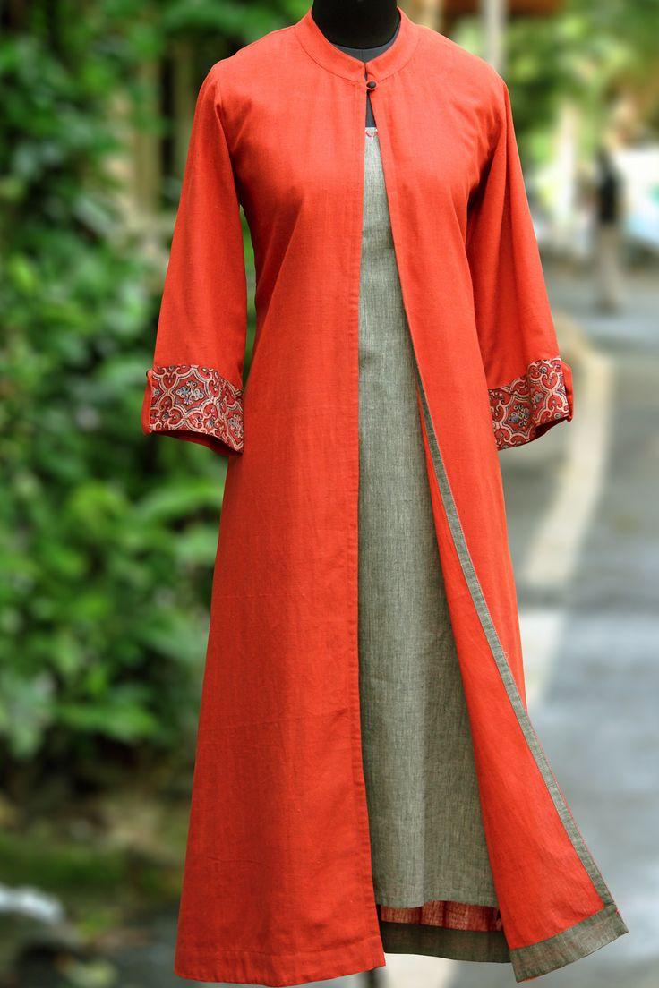 maati Crafts Orange Khadi Solid Jacket Style Anarkali Kurta