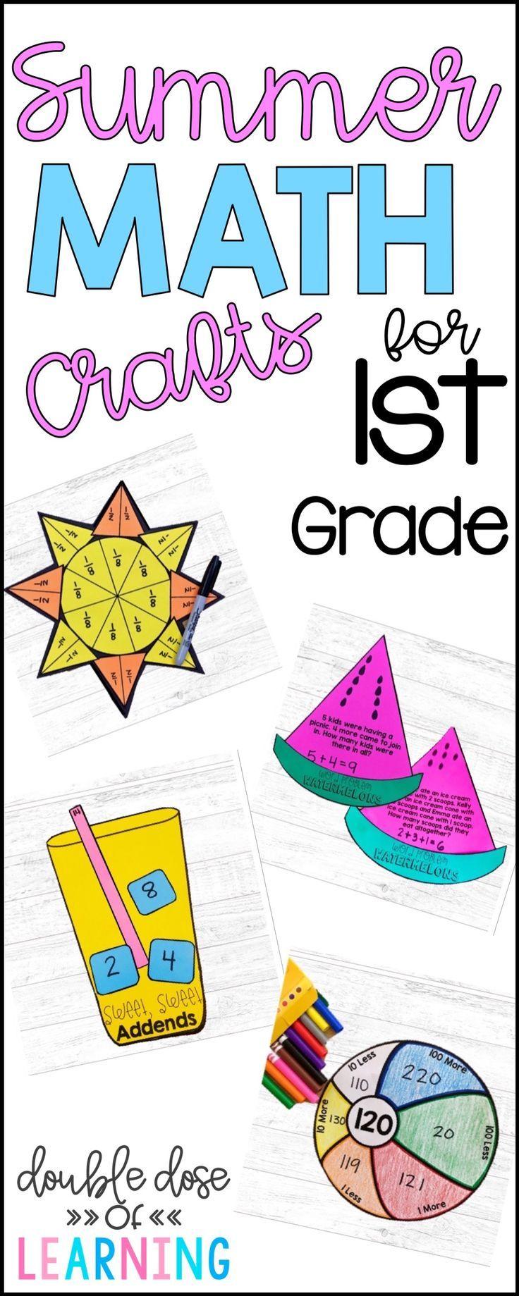 Summer Math Craftivities For First Grade Equations Fractions Base Ten Summer Math Math Craftivity Math Crafts [ 1839 x 736 Pixel ]