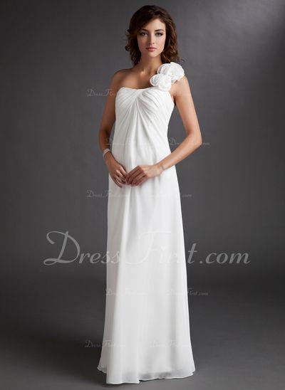 Corte imperial Un sólo hombro Vestido Gasa Dama de honor embarazada con Volantes Flores (045022471)