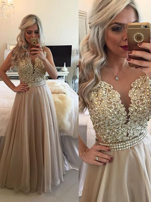 Cheap Gold prom dresses,A-line Scoop Prom Dresses,Evening Dresses,Floor-length Chiffon Prom Dresses