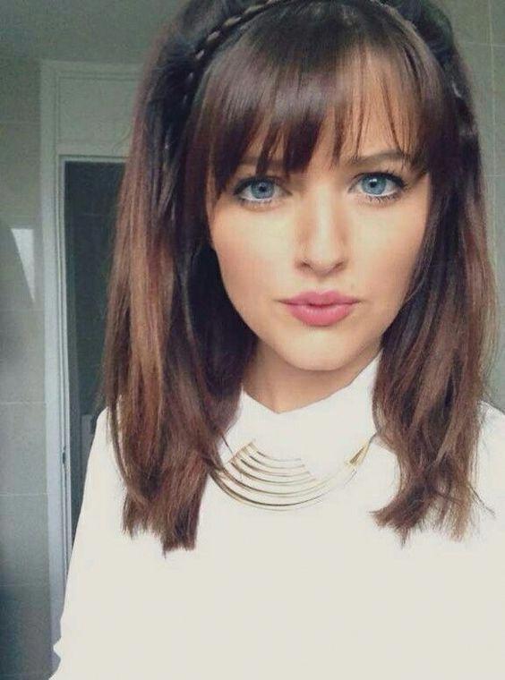 cute hairstyles for medium straight hair with bangs