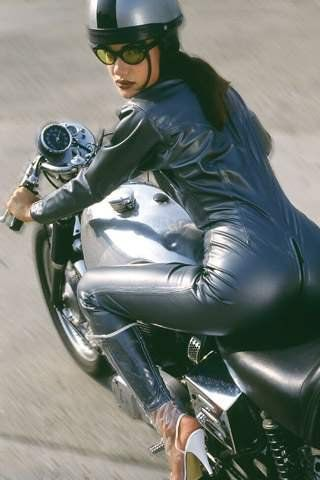 Leather Suit!! and Glasses!!   Cafe Racer Girl   sport helmets:  www.allsporthelmets.com